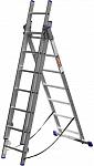 Лестница Зубр универсальная трехсекционная со стабилизатором, 7 ступеней (38831-07)