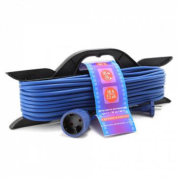 Удлинитель на рамке 30м (1 розетка) PowerCube PC-B1-F-30-R морозостойкий